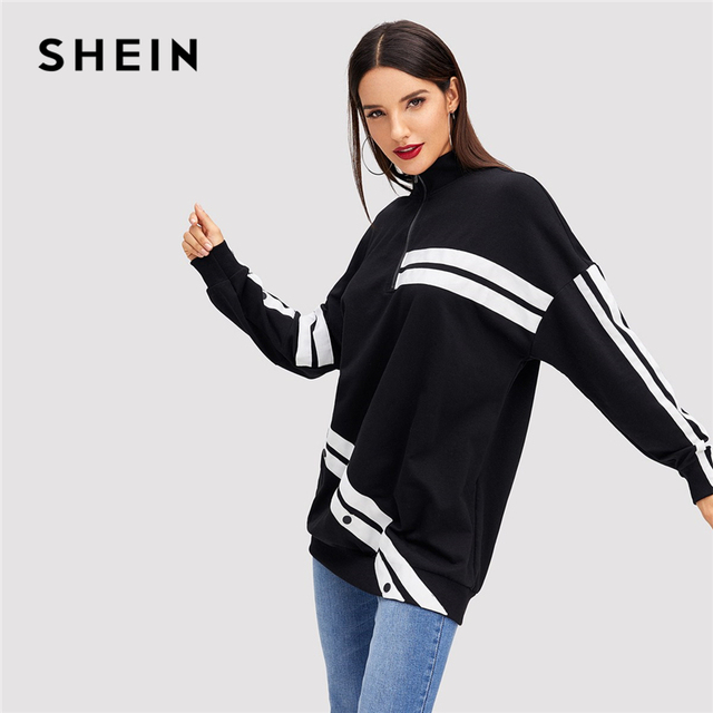2aaa2750ab452 SHEIN Black Minimalist Preppy Button Detail Color Block White Striped Long  Sweatshirt Autumn Casual Campus Women Sweatshirts
