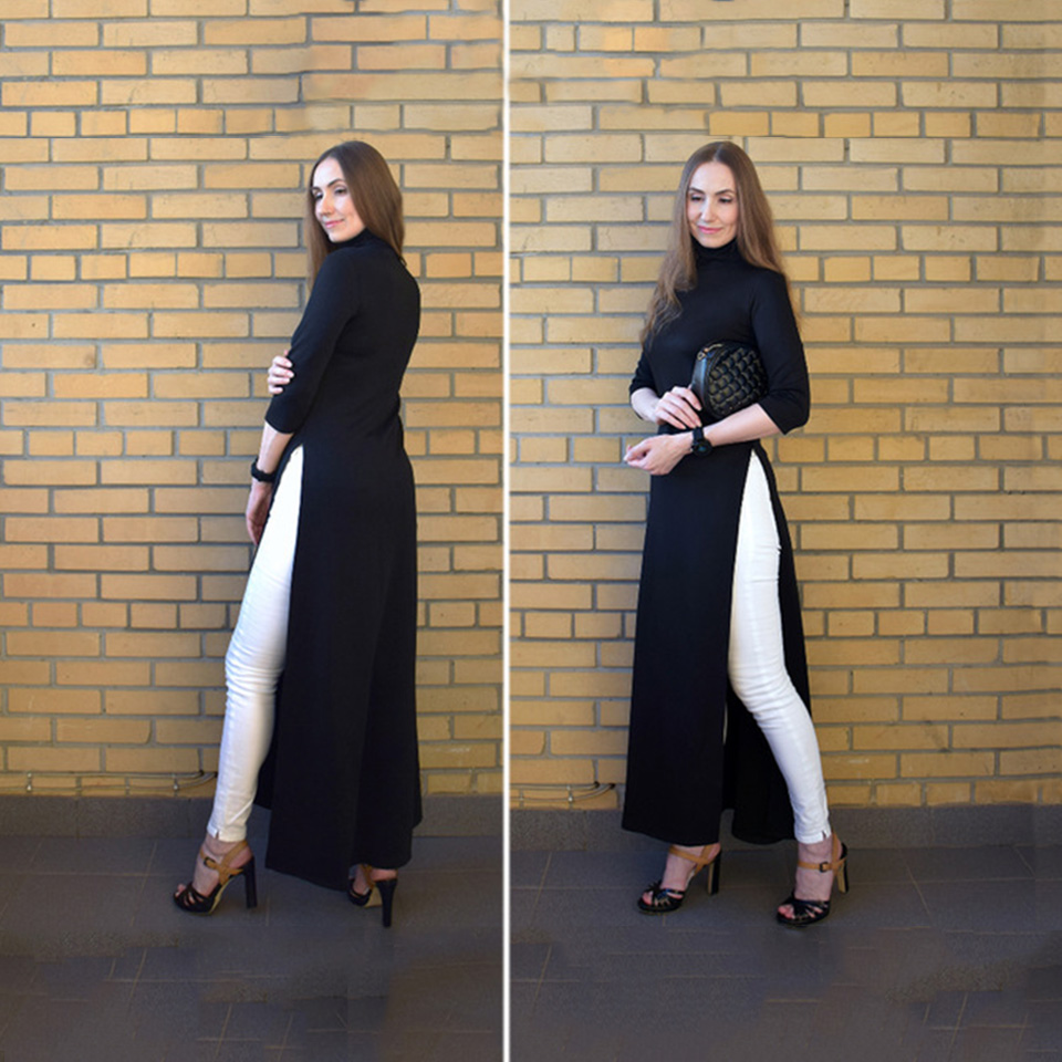 US $22.57 35% OFF|Women Fashion Plus Size Dress Summer Asymmetrical Western  Style Turtleneck Pullover Stretchy Plain Split Girls Oversize Dress-in ...
