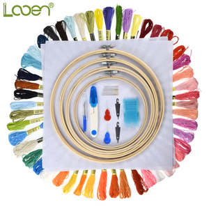 Image 2 - 5pcs Wooden Round Adjustable Bamboo Hoops Threads Scissors Needles Sewing Accessories Cross Stitch Hoop Embroidery Hoop