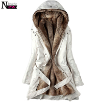 Fashion Women's Winter Faux Fur Lining Coats Warm Long Cotton padded Jacket Parkas Ladies Hooded Coat Outerwear with Belt Gifts