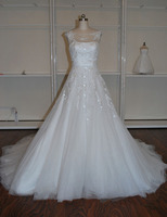 Hot Sale Elegant Simple A Line Lace Wedding Dress 2016 High Waistline Puffy Vestido De Noiva