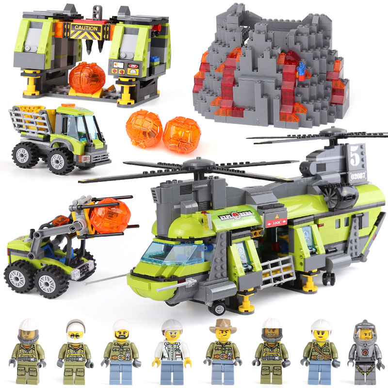 Lepin 02087 New City Series The Volcano Heavy-Lift Helicopter Set 60125 Building Blocks Bricks Christmas New Year Gifts hot city volcano heavy lift helicopter building block transporter truck forklift expedition figures bricks 60125 toys for gifts