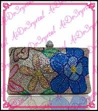 Aidocrystal pure handmade crystal blue flowers diamonds bestrewed cluth bag for women