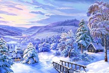 2016 New Adornment picture Diy diamond painting kits 3d square rhinestone Lovely snow full scenery 40X30CM