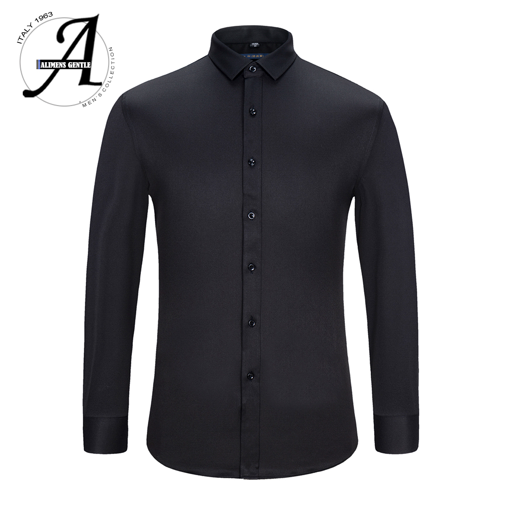 Alimens & Gentle Mens Dress Shirt Long Sleeve Non-iron Easy Care Bamboo Fiber Slim Fit Male Business Dress Camisa Masculina 2017