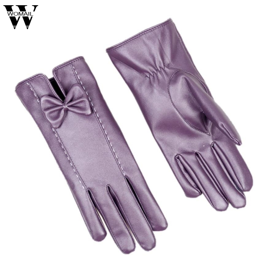 Women Girl Luxurious PU Leather Winter Super Warm Gloves