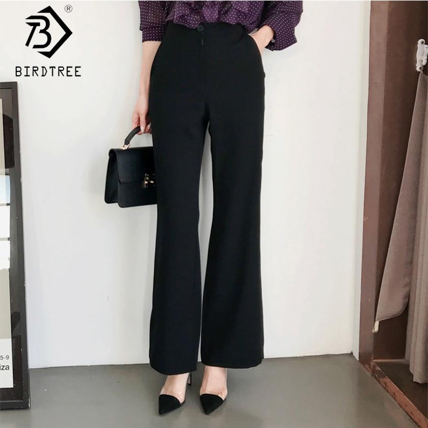 Apprehensive 2019 Spring Woman Black Wide Leg Pants High Waist Pockets Button Zipper Fly Solid Bottom New Office Lady Hots Sales B8d726j Women's Clothing