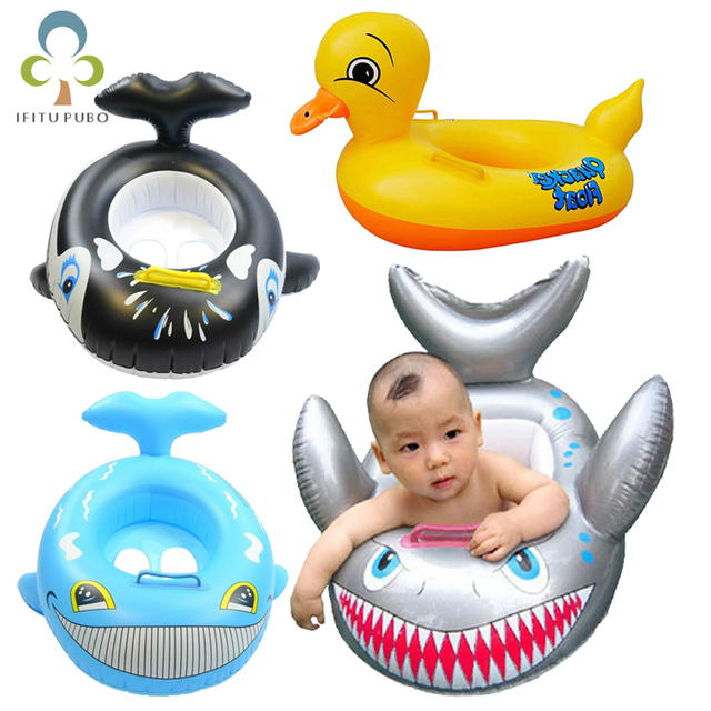 $ US $4.79 New Shark Duck Shaped Gloat Kids Inflatable Baby Toddler Safe Swimming Swim Seat Float Pool Fish Ring High Quality GYH