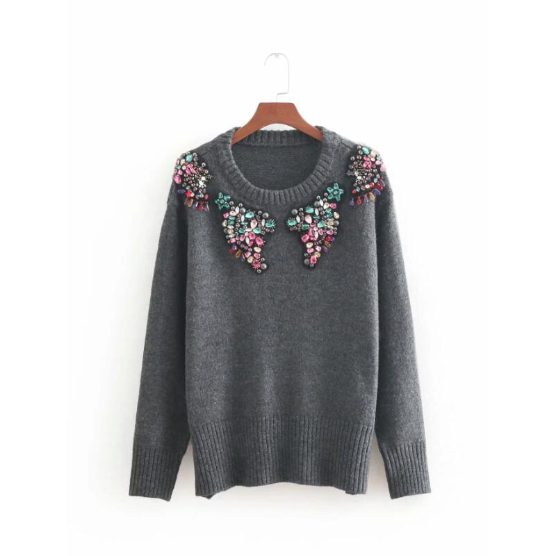 beading decoration women knitting sweater fashion long sleeve pullovers autumn streetwear casual smock loose tops SW521