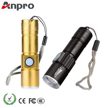 Anpro Mini USB LED Flashlight Torch Outdoor Camping Light Rechargeable Waterproof Zoomable Lamp 3 Mode Handy Flash Light(China)