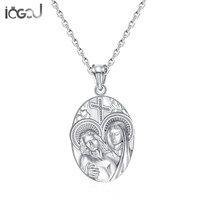 Iogou стерлингового серебра 925 Иисус ангелы Для мужчин Для женщин Подвески вечерние Христос Шарм Подвески для Цепочки и ожерелья Хип хоп Модны
