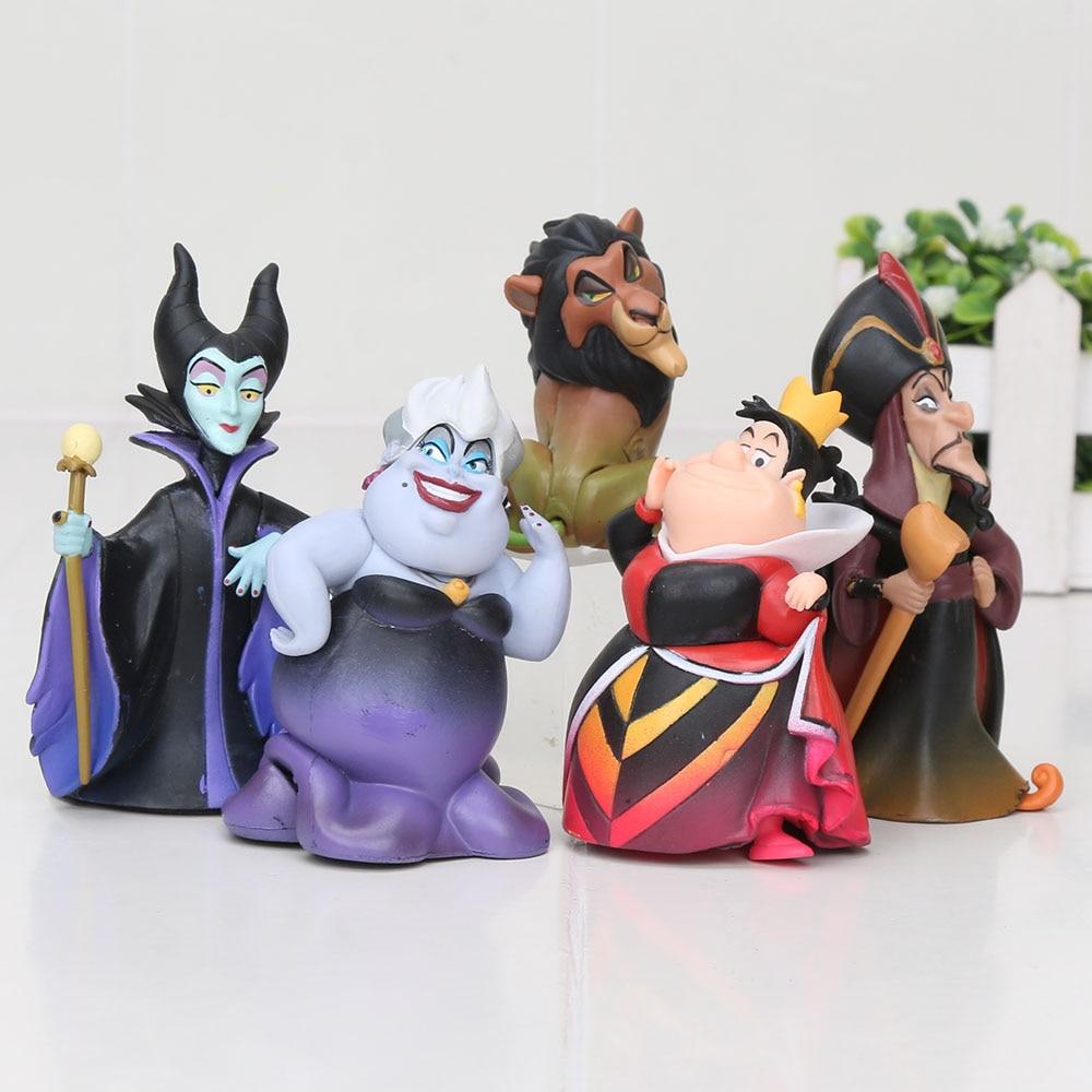 5-8cm 5pcs/set Cartoon Villains Malefice Ursula The Red Queen Scar Jafar Lion PVC Figures Collection Toys