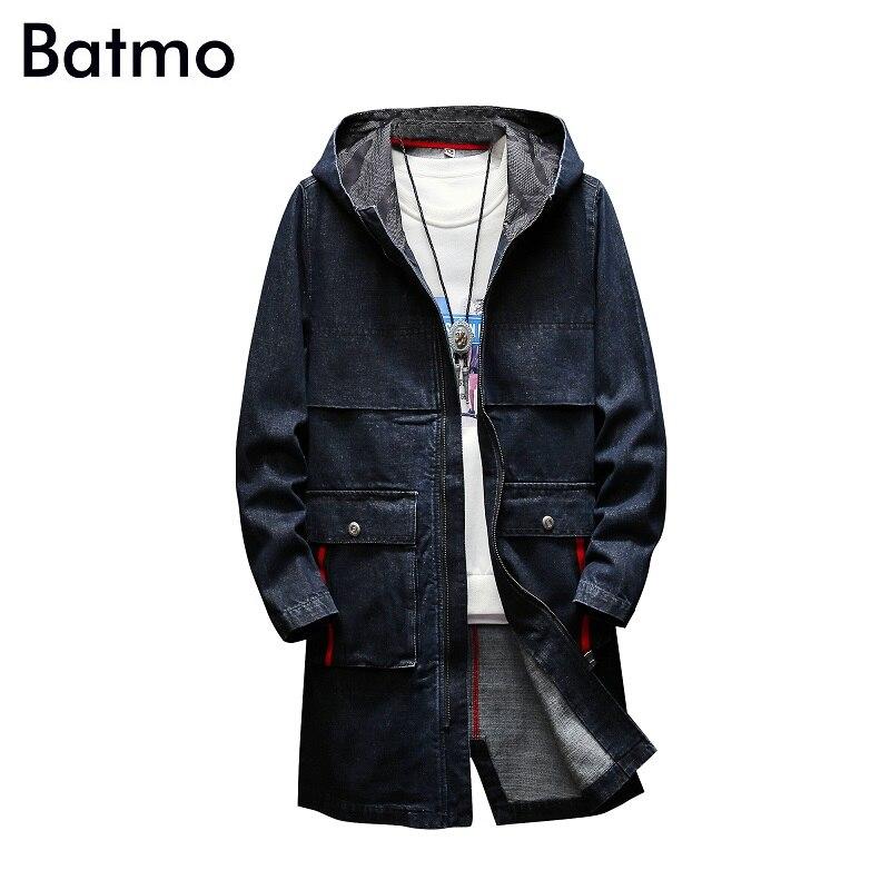 BATMO 2018 new arrival autumn high quality cotton denim hooded   trench   coat men,men's denim casual jackets ,plus-size S-5XL,F8030
