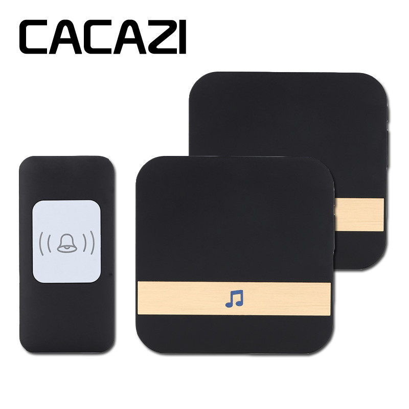 CACAZI A9 Smart home DoorBell 300m remote Wireless Door bell AC 75-250V 1 waterproof transmitter+2 receivers 52 rings door chime цена
