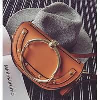 2017 Top PU Leather Women Handbag Hot Stylish Round Ring Handle Bag Heart Metal Pendant Crossbody
