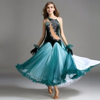 2017 Women Ballroom Dance Costumes Free Gloves Sleeveless South Korean Velvet S XXL Stage Vestido Flamenco Viennese Waltz Dress