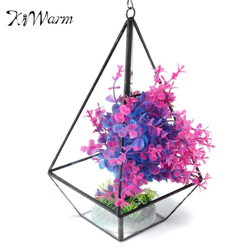 KiWarm Irregular Glass Geometric Terrarium Box Tabletop Succulent Flower <font><b>Plant</b></font> Planter Vase Pot Glass Crafts Wedding Home Decor