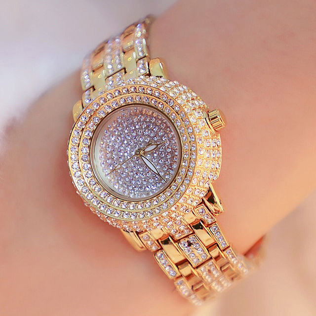 Luxury Hardlex Gold Mirror Strap Women's Bracelet Watches Colorful Shell Full Rh