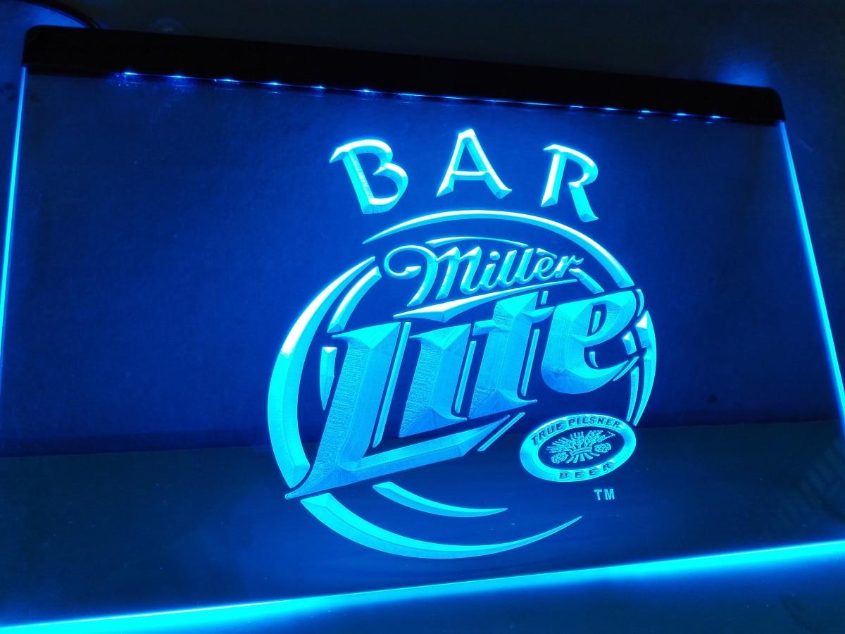 La406 Miller Lite Bar Beer Led Neon Light Sign Home Decor