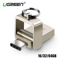USB מתכת כונן USB Flash 32 GB OTG Ugreen 3.0 מפתח כונן עט 64 GB סוג C במהירות גבוהה מיני pendrive Flash Drive Memory Stick 16 GB