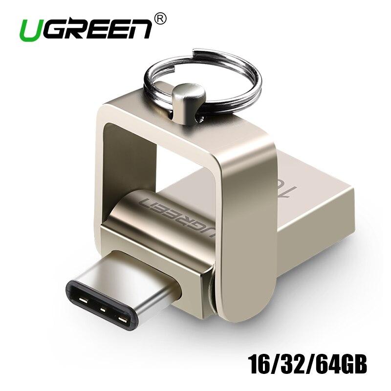 Ugreen USB Flash Drive 32 GB USB 3.0 Pen Drive usb Chave de Metal OTG Tipo C de Alta Velocidade pendrive de 64 GB Mini Flash Drive Memory Stick 16 GB