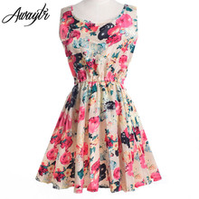 Sleeveless O-Neck Floral Print Pleated Party Dress