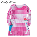 2016 New Children Striped Clothes Toddler Girl Dresses Long Sleeve Clothing Autumn Cartoon Animal Pattern Kids A-line tyh-20507