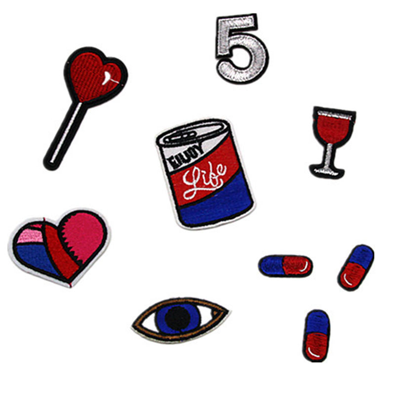 Love Eyes Pill Wine Glass Cartoon Patch for Bag Jacket Jeans Cartoon Iron on Patches for Clothes Small Glue Sticker(China)