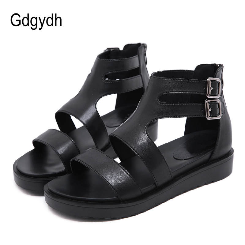 Gdgydh 2019 Women Summer Shoes Open Toe T-Strap Buckle Female Sandals Soft Leather Wedges Women Shoes Drop Shipping Large SizesGdgydh 2019 Women Summer Shoes Open Toe T-Strap Buckle Female Sandals Soft Leather Wedges Women Shoes Drop Shipping Large Sizes