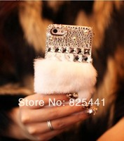 New arrival Luxury Women Winter Warm Rabbit Fur Case Back Cover For iPhone 4 4S 5 5S 5C diamond bowknot Free Shipping 1pcs/lot