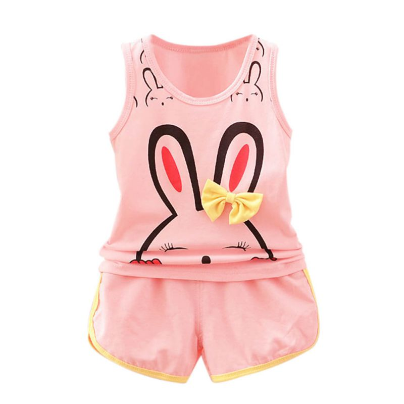 2017 Children's Garden Store Cute Rabbit Character Baby Boys Girls Sleeveless Tops + Colorful Summer Cotton Pants Outfits Clothes Set
