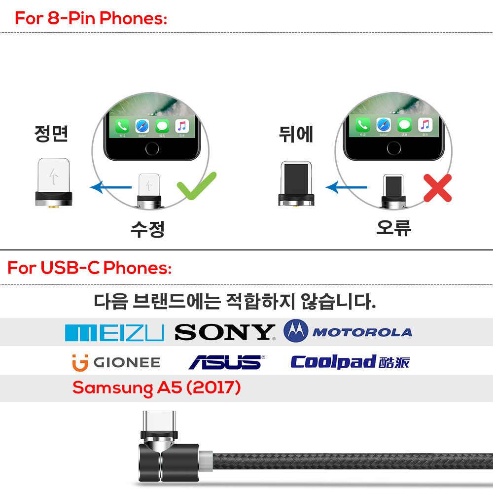 TOPK 1M 90 Gradi Cavo Magnetica, nylon LED Cavo Micro USB e USB Tipo-C USB C Cavo per il iPhone Samsung Huawei Xiaomi htc Sony