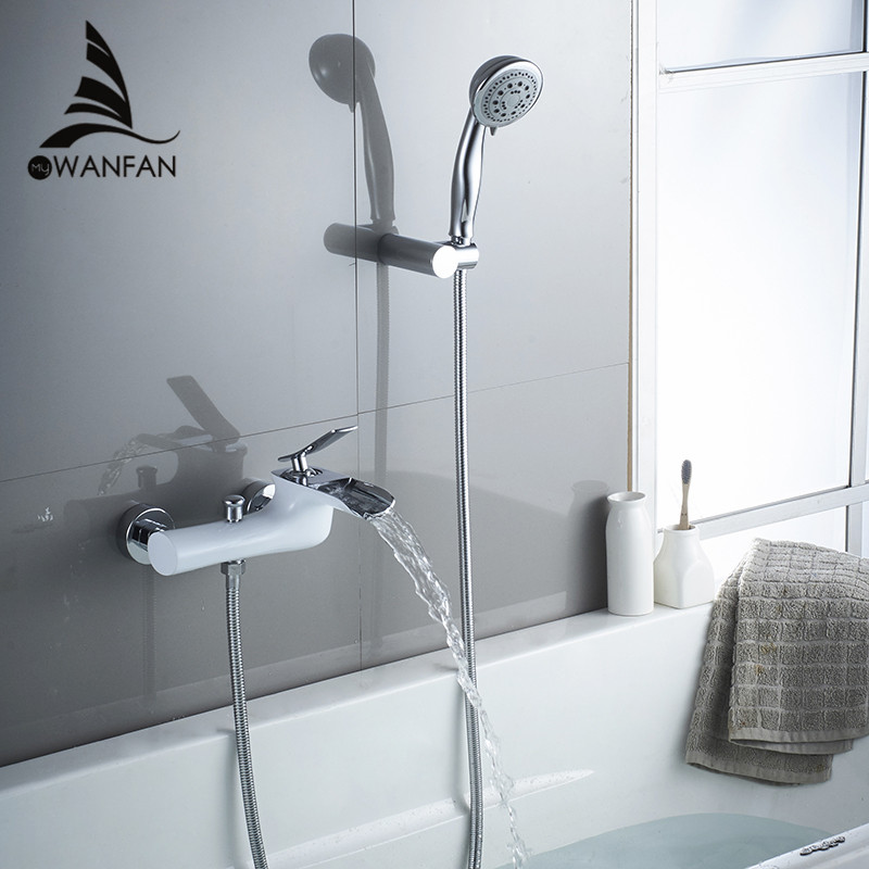 Bathtub Faucets Chrome Bath Shower Set White Shower Set Bathtub Mixer Tap Dual Contral Shower Wall Mounted For Bathroom WF 6018-in Shower Faucets from Home Improvement    2