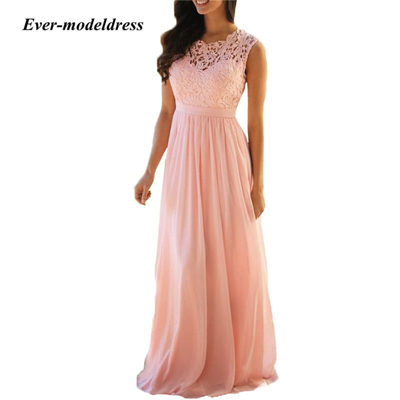 2019 Blush Pink Bridesmaid Dresses For Wedding Jewel Lace Top A Line Floor Length Wedding Guest Dress Robe demoiselle d 39 honneur in Bridesmaid Dresses from Weddings amp Events
