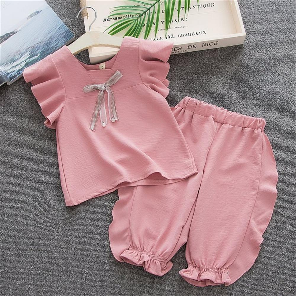 Summer Girls Clothes 2018 New Casual Children Clothing Sets Toddler Baby Girls Outfits Clothes Short Sleeve T-shirt Tops + Pant