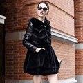 Winter Women Jackets 2015 Winter Fur Coat Fashion PU Leather Rabbit Fur Collar Jacket For Woman Black Fur Coat H6064