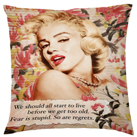 Red Flower Marilyn Monroe Cushion Cover Home Decorative Pillows Pillowcase Throw Pillows For Living Room Bed