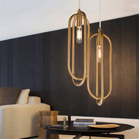 Nordic Post Modern Annular LED Living Room Pendant Light Golden Restaurant Hanging Lamp Bedroom Pendant Lighting Fixtures