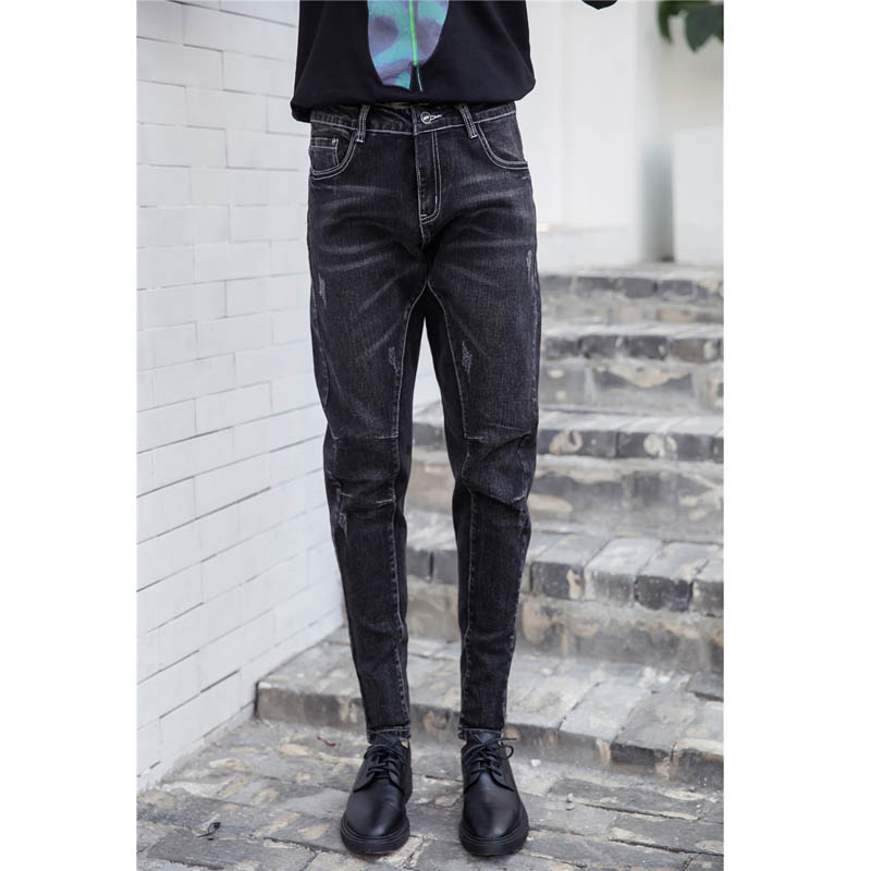 New Style Women Ripped Jeans Casual Long Denim Trousers Scratched Plus Size Loose Pencil Jeans Black MYNZ87