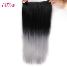 HANNE 24″ 60cm 5 Clips Straight Ombre Black To Silver Grey Ombre Synthetic Hairpieces Clip-in One Piece Hair Extensions