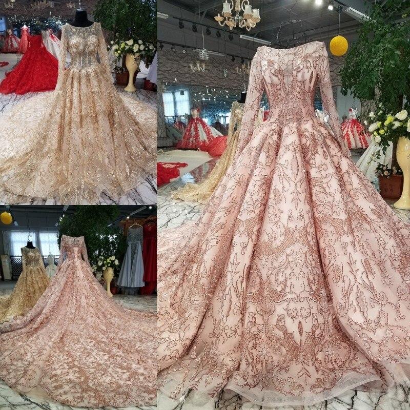 Evening Dress 2018 New The High-end Full Sleeve O-neck Luxury Embroidery Elegant Sweep Train Noble Princess Vestido De Novias
