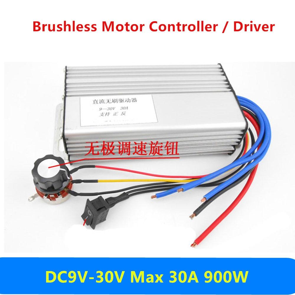 30A DC 9V 12V 24V No Hall DC Brushless Motor Driver Board Electric Governor