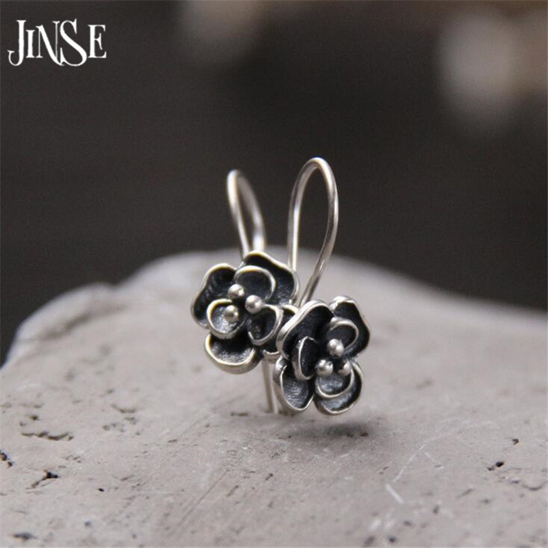 JINSE Vintage 925 Silver Drop Earring Rose Flower boucle d'oreille S925 Sterling Silver Dangle Earrings for Women Jewelry