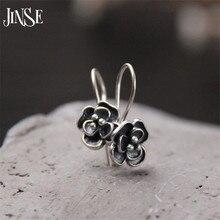 JINSE Vintage 925 Silver Drop Earring Rose Flower boucle d'oreille S925 Sterling Silver Dangle Earrings for Women Jewelry