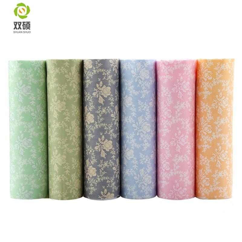 Shuanshuo 6 pçs/lote, Rosa Impresso Tecido de Sarja de Algodão, retalhos de Pano Para DIY Quilting Costura Baby & Crianças Folhas Material do Vestido