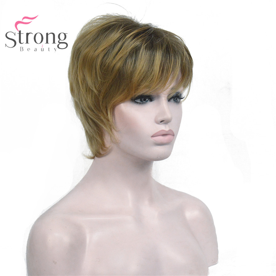 StrongBeauty Light Brown mixed Short Shag Hairstyles For Older Women Synthetic Natural Full Wigs