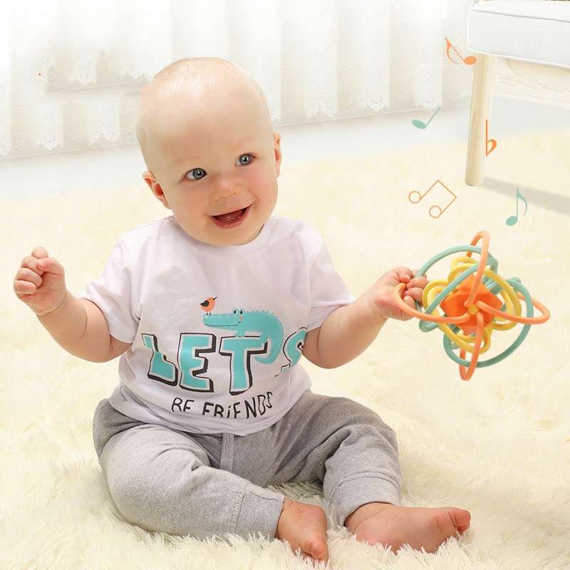 0-12 Months Hand Catching Ball Baby Tactile Perception Hand Catching Ball Puzzle Toy Manhattan Newborn Baby Teether Toy