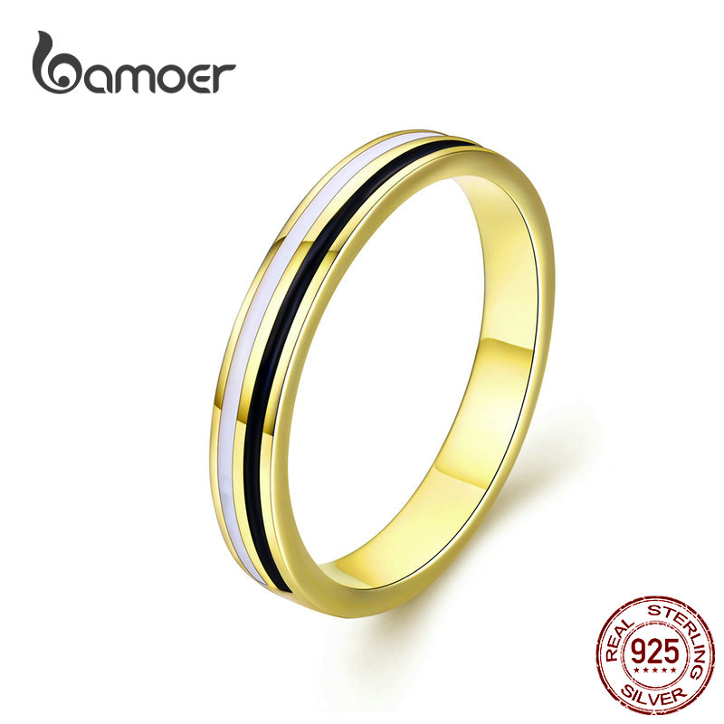BAMOER Golden Engagement Ring For Authentic 925 Sterling Silver Enamel Wide Finger Rings For Fashion Jewelry Mens Gifts SCR523