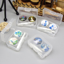 20set/lot  Hand drawn Peacock contact lenses box / companion box / Cartoon eyeglasses box /storage pencil case/ lens care