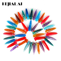 Wholesale Pendants 1 Strand Colorful Raw Quartz Crystal Long Point Pendants Rock Top Drilled Electroplated Quartz
